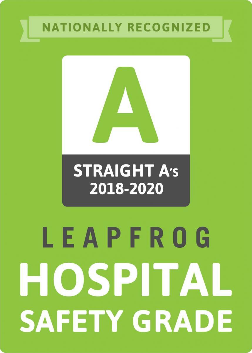 Grado de seguridad del hospital Leapfrog recto como 2018-2020